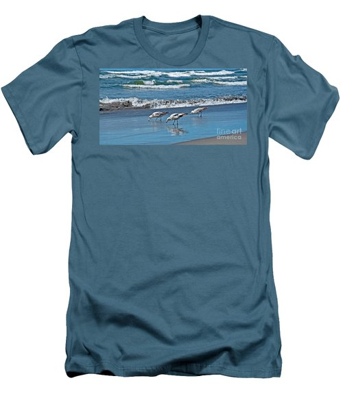 Three Seagulls At Ocean Shore Art Prints Men's T-Shirt (Slim Fit) by Valerie Garner