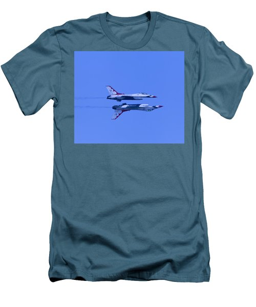 Men's T-Shirt (Slim Fit) featuring the photograph Thunderbirds Solos 6 Over 5 Inverted by Donna Corless