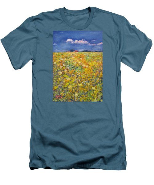 Men's T-Shirt (Slim Fit) featuring the painting tiptoe Through Summer Meadow by Richard James Digance