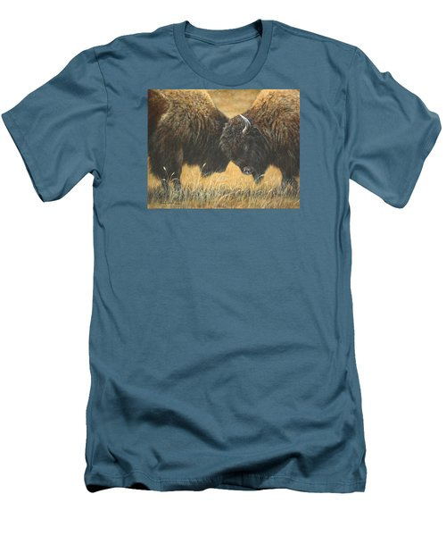 Men's T-Shirt (Slim Fit) featuring the painting Titans Of The Plains by Kim Lockman