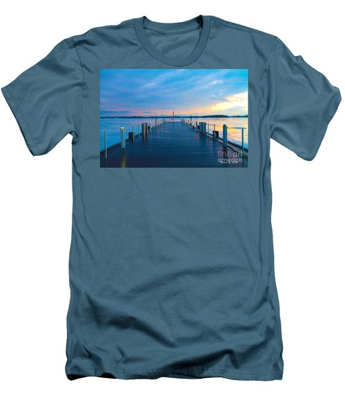 Toronto Pier During A Winter Sunset Men's T-Shirt (Slim Fit) by Nina Silver