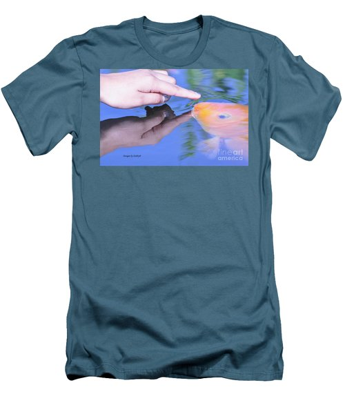 Touching The Koi.  Men's T-Shirt (Slim Fit) by Debby Pueschel
