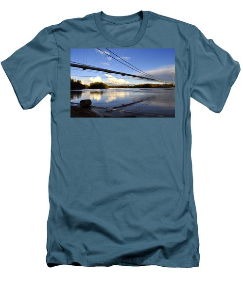 Men's T-Shirt (Slim Fit) featuring the photograph Transalaska Pipeline Bridge by Cathy Mahnke