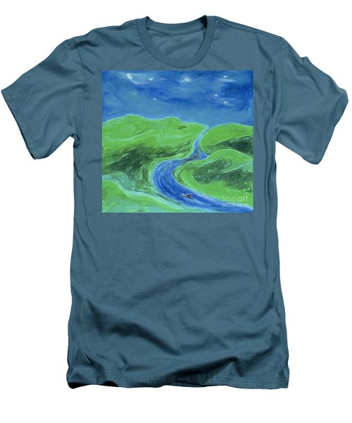 Men's T-Shirt (Slim Fit) featuring the painting Travelers Upstream By Jrr by First Star Art