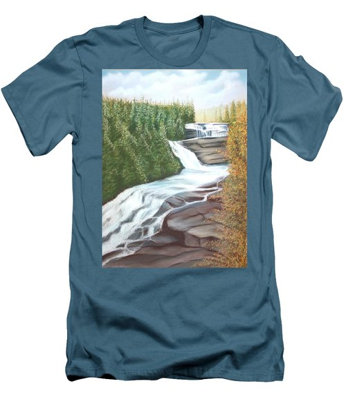 Men's T-Shirt (Slim Fit) featuring the pastel Triple Falls by Stacy C Bottoms
