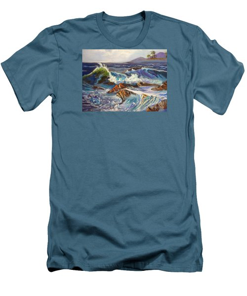 Men's T-Shirt (Slim Fit) featuring the painting Turbulent Waters Hawaii by Jenny Lee