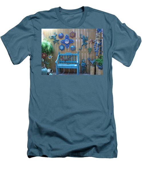 Men's T-Shirt (Slim Fit) featuring the photograph Turquoise Corner by Dora Sofia Caputo Photographic Art and Design