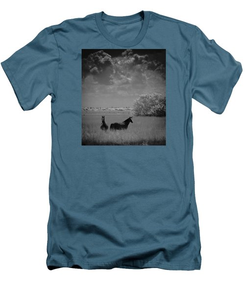 Two Horses Men's T-Shirt (Slim Fit) by Bradley R Youngberg