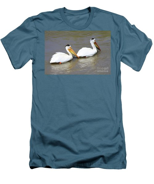 Two Pelicans Men's T-Shirt (Slim Fit) by Alyce Taylor