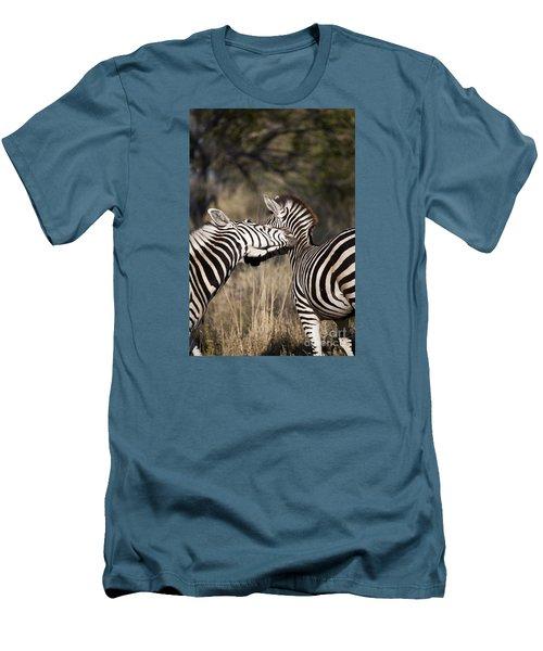 Men's T-Shirt (Slim Fit) featuring the photograph Two Plains Zebra Botswana by Liz Leyden