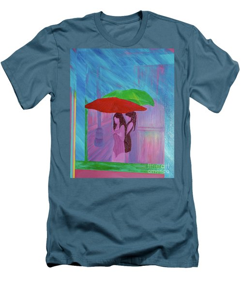 Men's T-Shirt (Slim Fit) featuring the painting Umbrella Girls by First Star Art