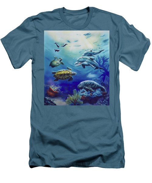 Men's T-Shirt (Athletic Fit) featuring the painting Under Water Antics by Thomas J Herring