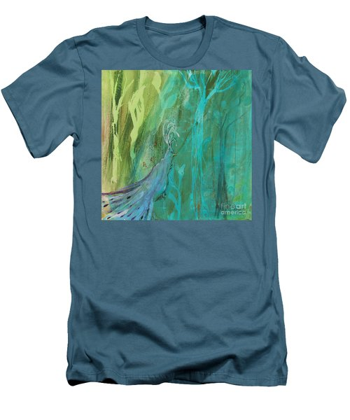 Men's T-Shirt (Slim Fit) featuring the painting Undercover Peacock by Robin Maria Pedrero