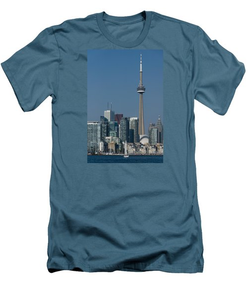 Up Close And Personal - Cn Tower Toronto Harbor And Skyline From A Boat Men's T-Shirt (Slim Fit) by Georgia Mizuleva