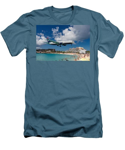 U S Airways Landing At St. Maarten Men's T-Shirt (Slim Fit) by David Gleeson