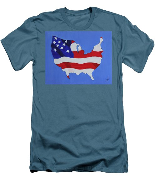 Men's T-Shirt (Slim Fit) featuring the painting Us Flag by Lorna Maza