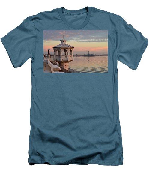 Uss Lexington At Sunrise Men's T-Shirt (Slim Fit) by Leticia Latocki