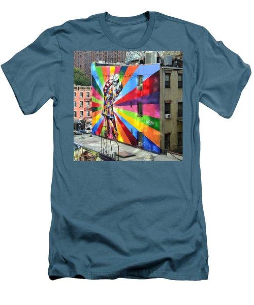 V - J Day Mural By Eduardo Kobra Men's T-Shirt (Slim Fit) by Allen Beatty