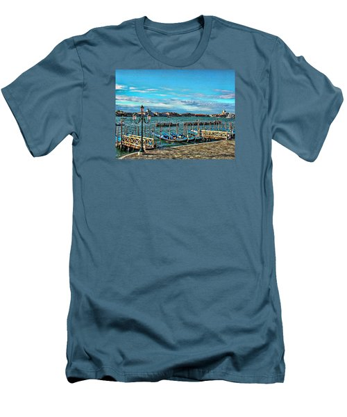 Men's T-Shirt (Slim Fit) featuring the photograph Venice Gondolas On The Grand Canal by Kathy Churchman