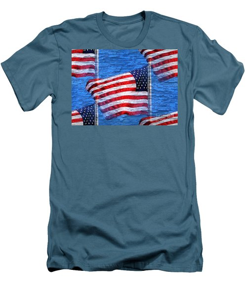 Men's T-Shirt (Slim Fit) featuring the photograph Vintage Amercian Flag Abstract by Judy Palkimas
