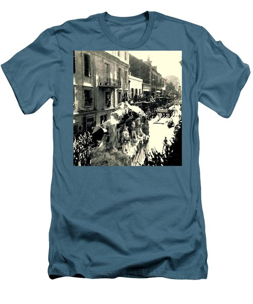 Men's T-Shirt (Slim Fit) featuring the photograph New Orleans Vintage Mardi Gras In The French Quarter Of  Louisiana  1960 by Michael Hoard