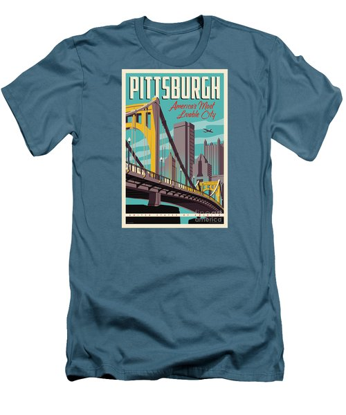Vintage Style Pittsburgh Travel Poster Men's T-Shirt (Athletic Fit)