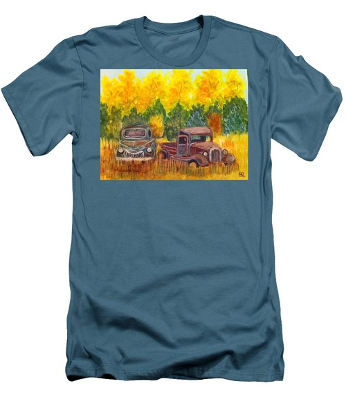 Men's T-Shirt (Slim Fit) featuring the painting Vintage Trucks by Belinda Lawson