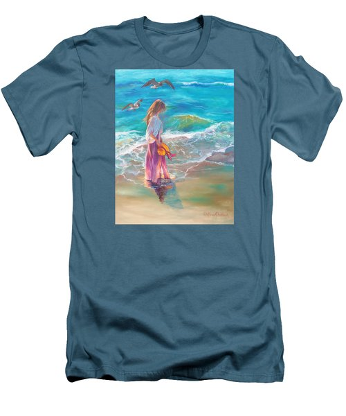 Walking In The Waves Men's T-Shirt (Slim Fit) by Karen Kennedy Chatham
