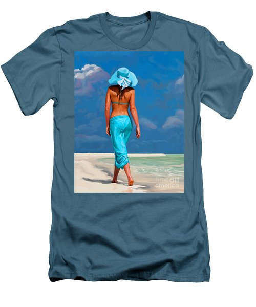 walking on the beach V Men's T-Shirt (Slim Fit)