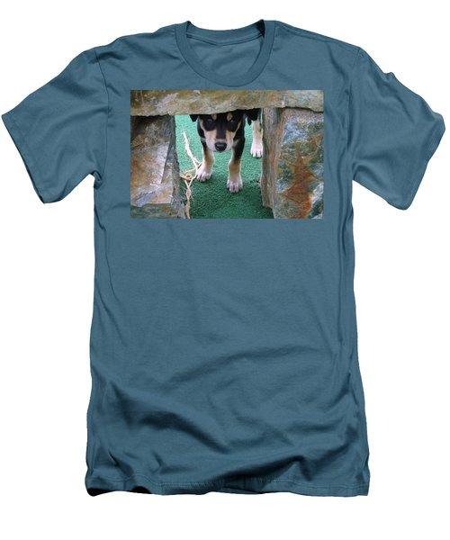 Wannabe Sled Dog In The Yukon Men's T-Shirt (Slim Fit) by Richard Rosenshein