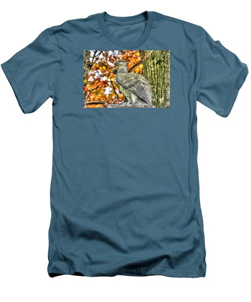 Men's T-Shirt (Slim Fit) featuring the photograph War Eagles - 28th Massachusetts Volunteer Infantry Rose Woods The Wheatfield Fall-a Gettysburg by Michael Mazaika