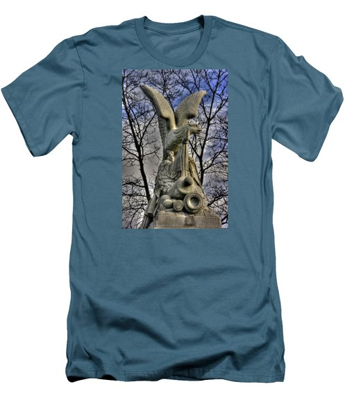 Men's T-Shirt (Slim Fit) featuring the photograph War Eagles - 88th Pa Volunteer Infantry Cameron Light Guard-c1 Oak Hill Autumn Gettysburg by Michael Mazaika