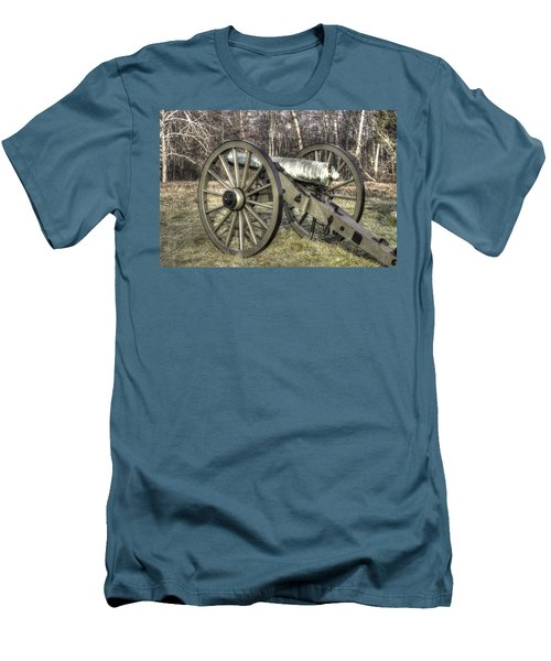 Men's T-Shirt (Slim Fit) featuring the photograph War Thunder - 1st New York Light Artillery-c1 Battery D The Wheatfield Late Winter Gettysburg by Michael Mazaika