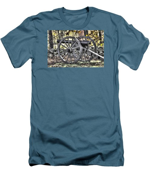 Men's T-Shirt (Slim Fit) featuring the photograph War Thunder - The Albemarle Va Artillery Wyatt's Battery-b1 West Confederate Ave Gettysburg by Michael Mazaika