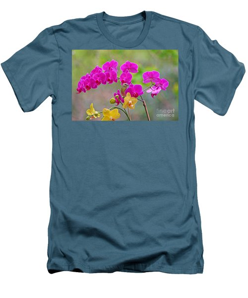 Men's T-Shirt (Slim Fit) featuring the photograph Warbler Posing In Orchids by Luana K Perez