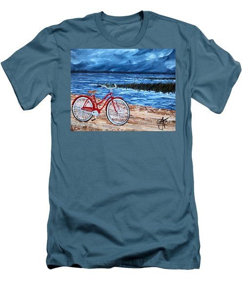 Men's T-Shirt (Slim Fit) featuring the painting Watching The Storm by Jackie Carpenter