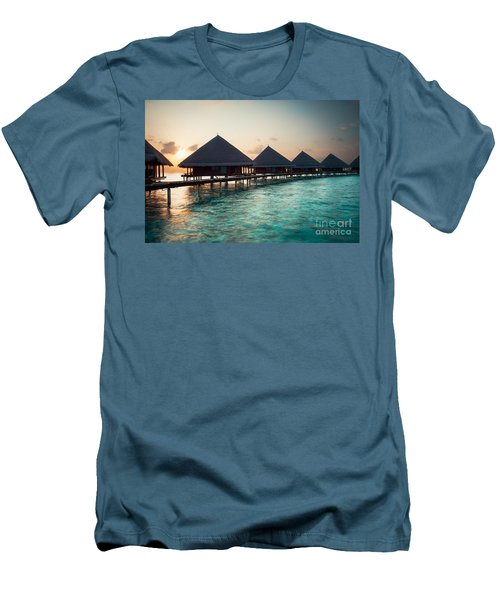 Waterbungalows At Sunset Men's T-Shirt (Athletic Fit)