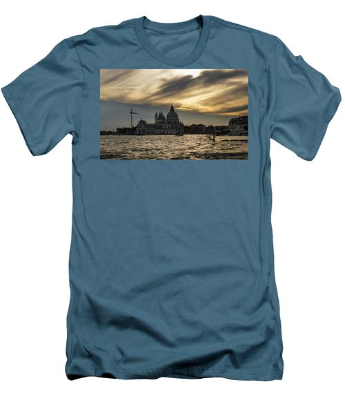 Men's T-Shirt (Slim Fit) featuring the photograph Watercolor Sky Over Venice Italy by Georgia Mizuleva