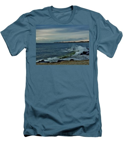 Men's T-Shirt (Slim Fit) featuring the photograph Wave Crashing At Cape May Cove by Ed Sweeney
