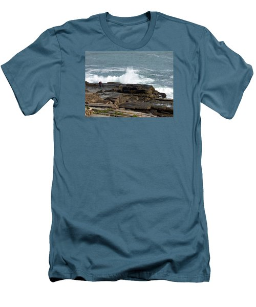 Wave Hitting Rock Men's T-Shirt (Slim Fit) by Catherine Gagne