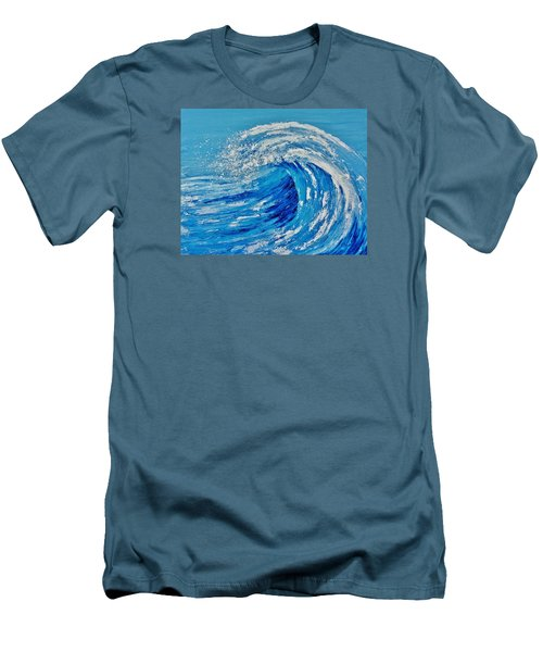 Men's T-Shirt (Slim Fit) featuring the painting Wave by Katherine Young-Beck