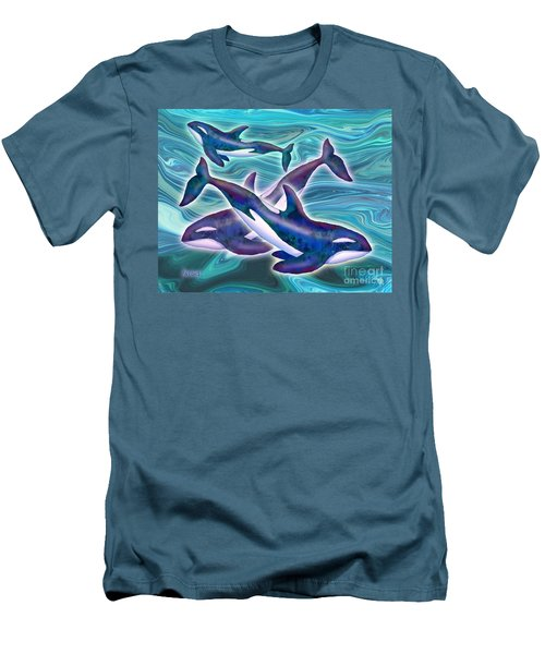 Men's T-Shirt (Slim Fit) featuring the mixed media Whale Whimsey by Teresa Ascone