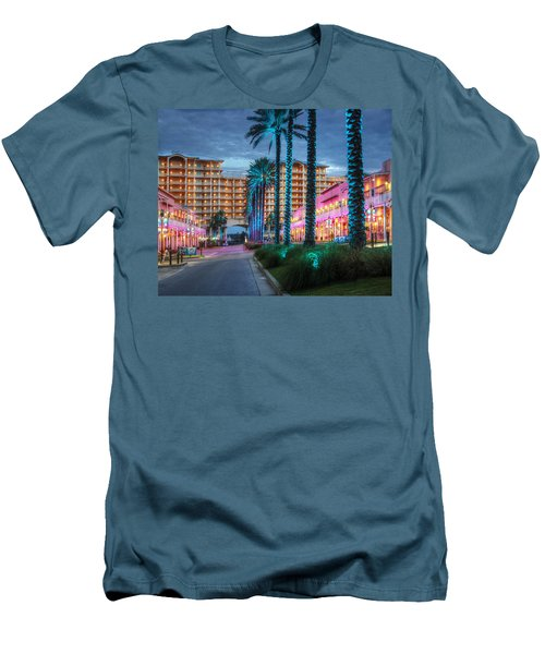 Men's T-Shirt (Slim Fit) featuring the photograph Wharf Blue Lighted Trees by Michael Thomas