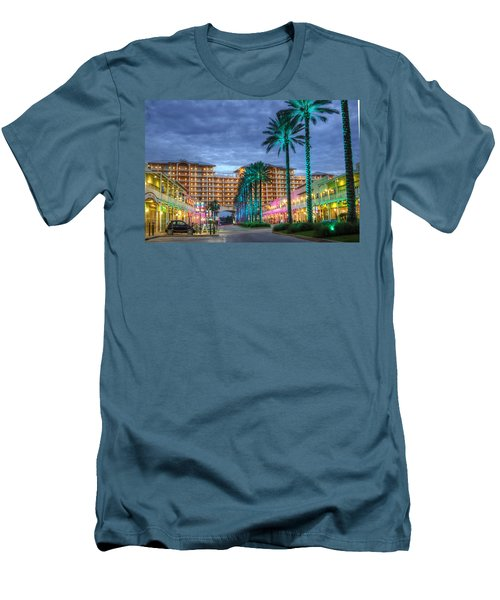 Men's T-Shirt (Slim Fit) featuring the digital art Wharf Turquoise Lighted  by Michael Thomas