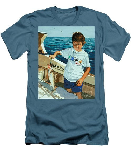 Men's T-Shirt (Slim Fit) featuring the painting What A Catch by Barbara Jewell