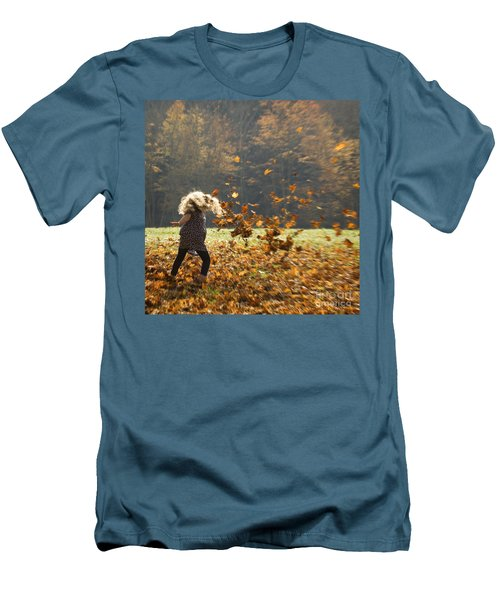 Whirling With Leaves Men's T-Shirt (Slim Fit) by Carol Lynn Coronios