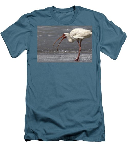 Men's T-Shirt (Slim Fit) featuring the photograph White Ibis On The Beach by Meg Rousher