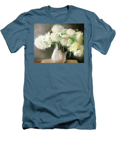 White Peonies Men's T-Shirt (Athletic Fit)