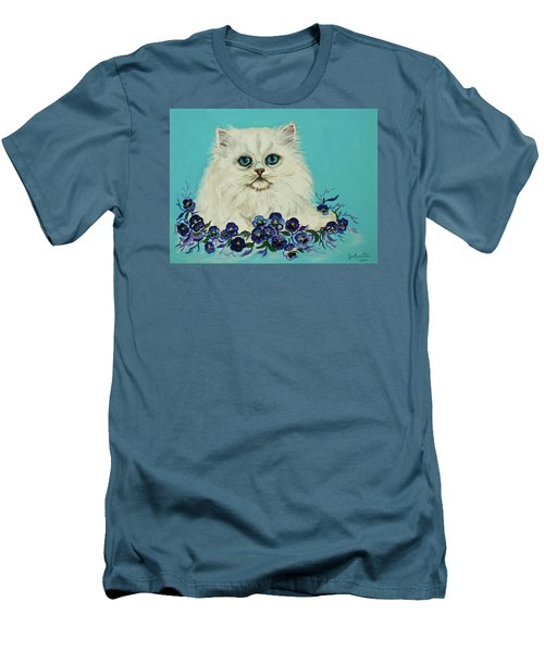 Men's T-Shirt (Slim Fit) featuring the painting White Persian In Pansy Patch Original Forsale by Bob and Nadine Johnston