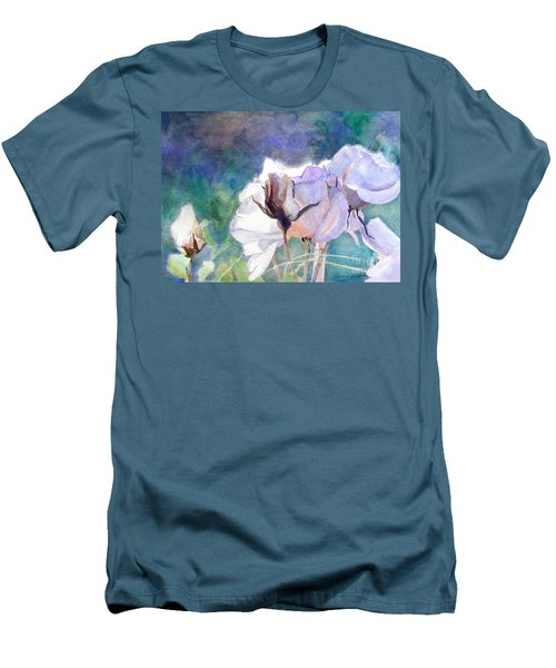 Men's T-Shirt (Slim Fit) featuring the painting White Roses In The Shade by Greta Corens